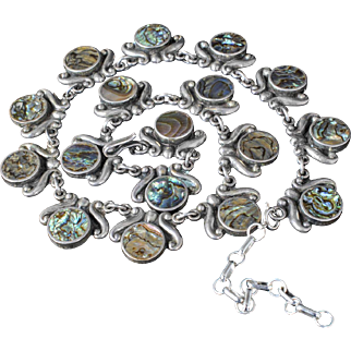 shimmering Mexican Deco sterling silver Necklace ~ Taxco repousse with peacock abalone disk inlay