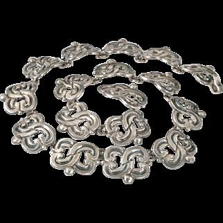 classy M Mondragon Mexican 980 silver Necklace ~ superb Taxco fertility motif