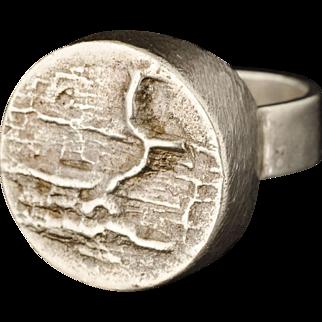 vintage Magnus G:son Liedholm Sweden sterling silver brutalist Ring ~ Scandinavian modernist design
