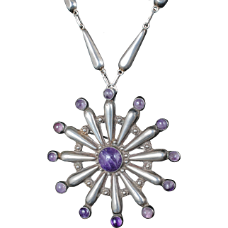 big and bold Mexican Deco silver and amethyst sunburst Pin / Pendant Necklace with repousse chain