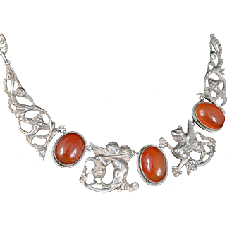 vintage Deco Italian silver griffons Necklace with carnelian cabochons ~ Renaissance Revival design