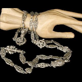 "37"" long Deco Peruzzi 800 silver ""Roma"" chain Necklace with figural Italian city symbol links"