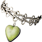 gorgeous Mexican Deco silver and carved stone heart Charm Bracelet