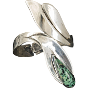 rare Beto Mexican silver and stone Bracelet ~ early Taxco modernist calla lily with azurite