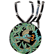 Margot de Taxco Mexican silver enamel Quetzalcoatl Necklace Pin / Pendant combo ~ des. no 5753