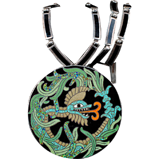 Margot de Taxco Mexican silver enamel Quetzalcoatl Necklace Pin / Pendant combo ~ des. no 5753