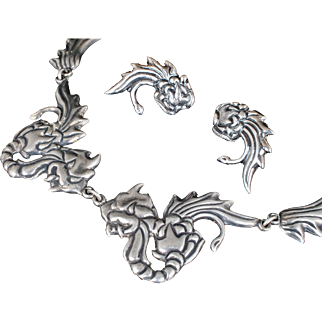 dramatic Mexican Deco silver repousse Necklace and Earrings set ~ Chinese dragons design