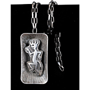 signed Bernard Dawahoya Hopi sterling silver Necklace with figural overlay Pendant