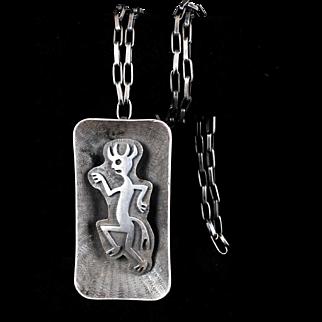 signed Bernard Dawahoya Hopi sterling silver Necklace with figural overlay Pendant