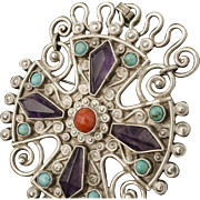 early Deco Matl Matilde Poulat Mexican silver jeweled Pin / Brooch Pendant