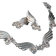 classy Margot de Taxco Mexican silver Necklace Earrings set ~ des no 5120 wings with beading repousse