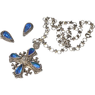 vintage Jerusalem silver Etruscan Cross Necklace and Earrings set with sapphire blue glass gems