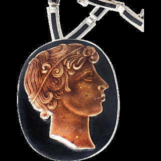 Margot de Taxco Mexican silver and enamel Necklace ~ Roman Patrician des. no 5862