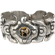 early Mexican Deco silver repousse Bracelet ~ serpent scale links with spotted jasper