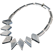 early Mexican modernist silver lozenges Necklace ~ a vintage Taxco beauty