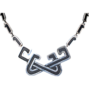 classy Margot de Taxco Mexican silver Necklace ~ elaborate knot design no 5684