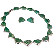 Enrique Ledesma Mexican silver and azur malachite Necklace and Earrings set ~ a Taxco modernist demi