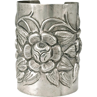 massive Mexican Deco silver Cuff Bracelet ~ an early Mexico City Aztec Rose beauty