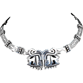 "Salvador Teran Mexican silver ""Noblemen"" Necklace ~ Taxco modernist des. no 132"