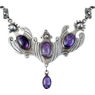 splendid Mexican Deco silver and amethyst Necklace ~ early Taxco pectoral with dangle