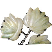 vintage Mexican Deco silver Pin Brooch ~ huge carved jade fall flowers on a branch