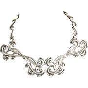 Margot de Taxco Mexican silver Necklace ~ majestic repousse pectoral des no 5161