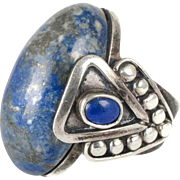 huge Mexican silver and lapis Ring ~ stunning Taxco towering design with beading and overlay