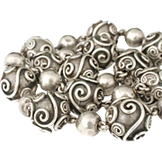 Carmen Beckmann Mexican silver bead Necklace with wirework overlay