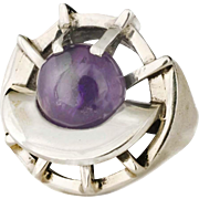 Erika Hult de Corral Ric Mexican silver Ring with amethyst ~ strong Taxco modernist design