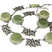 rare Jose Anton Mexican silver Necklace ~ Deco Taxco repousse roses and jade disks design