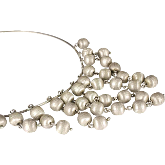 mod Mexican silver cascade Necklace ~ Taxco brushed sterling beads galore