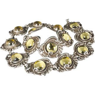 rare Mexican Deco silver repousse Necklace with golden yellow foiled glass cabs