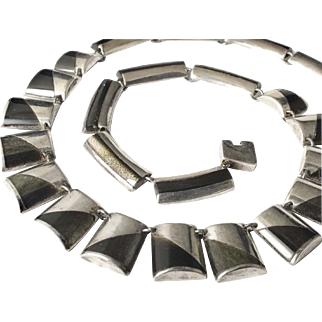 Enrique Ledesma Mexican silver modernist Necklace with obsidian