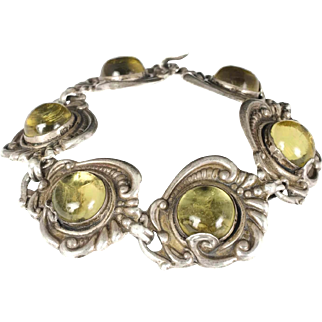 Mexican Deco silver repousse Bracelet foiled art glass cabs