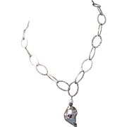 SALE!!   Sterling Conch Design Pendant Necklace With Pearl Accents