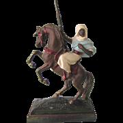 Signed Paul Herzel Bedouin Warrior on Horse Bronze Clad Single Bookend or Sculpture, Pompeian Bronze