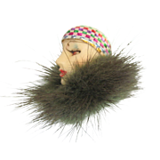 Vintage Porcelain Hand Painted Face Brooch With Fur, Flapper or Cloche Hat