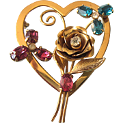 Romantic Signed Coro Vintage Heart Pin With Rhinestones and Rose