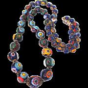 "Vintage Italian Millefiori Glass Bead 24"" Graduated Necklace - Gorgeous!"