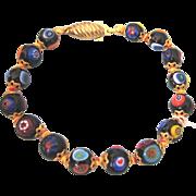 "Vintage Italian Millefiori Murano Glass Bead 7-3/4"" Bracelet"