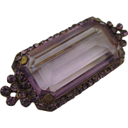 SALE!  Exquisite Antique Edwardian Amethyst Glass Brooch in Gilt Setting With Amethyst Rhinestones