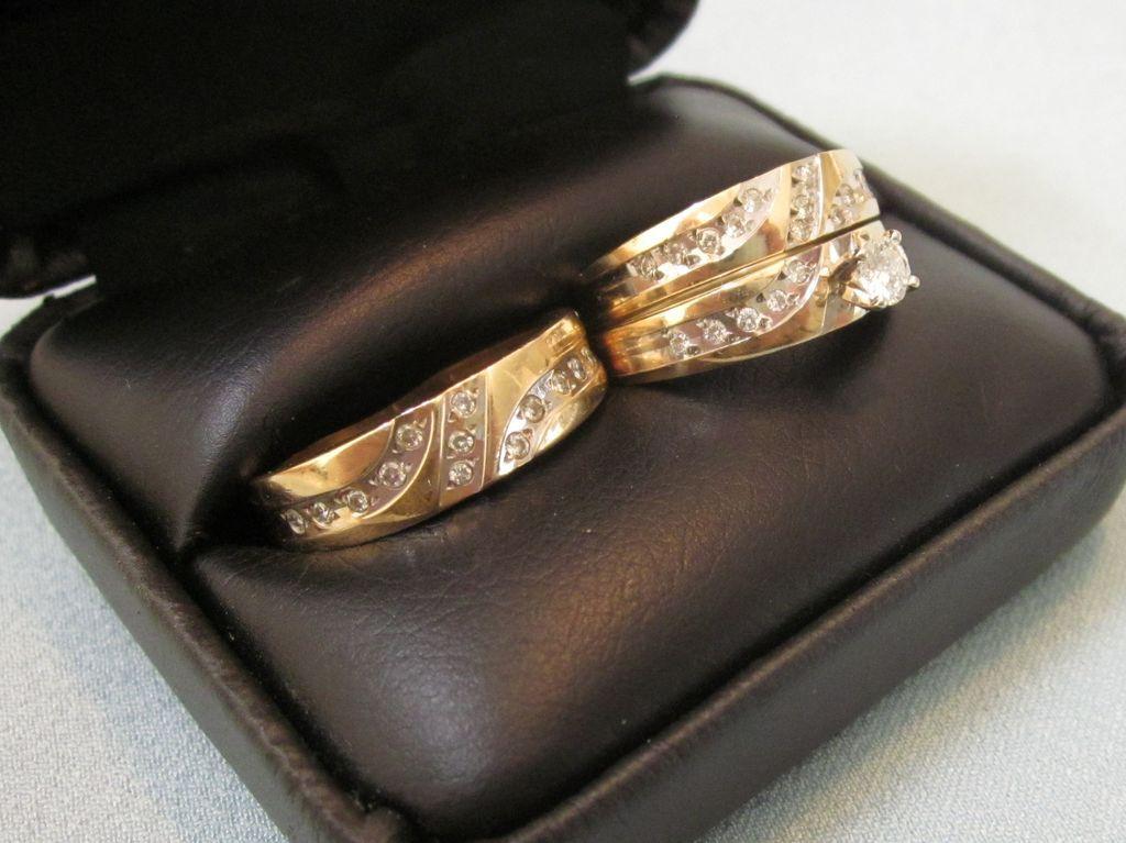 stunning 14k diamond his and hers wedding band engagement 3 ring set - 14k Gold Wedding Ring Sets
