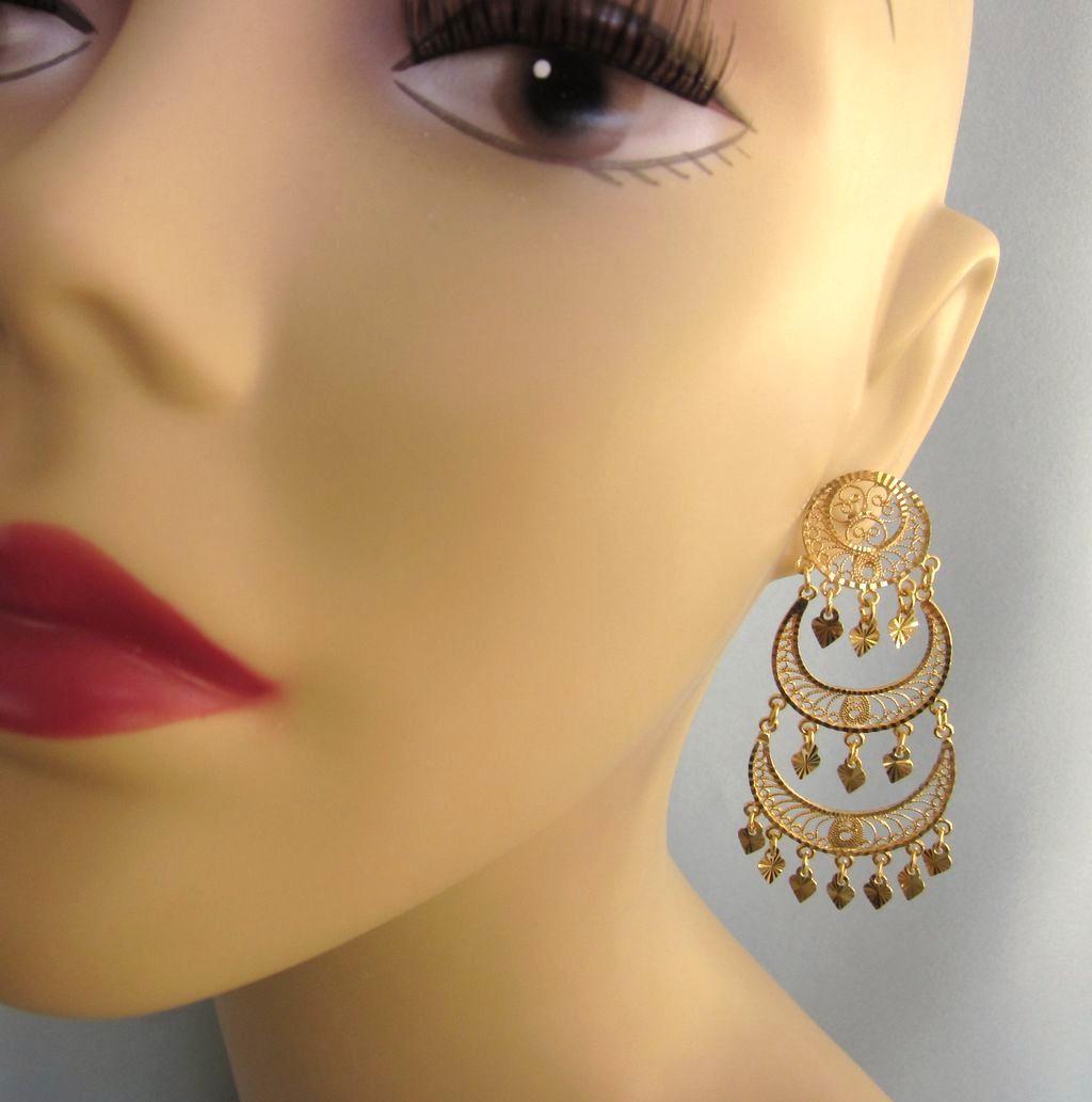 Fabulous Huge 14k Yellow Gold Chandelier Pierced Earrings Del Mar Ii Jewels And Antiques Ruby Lane