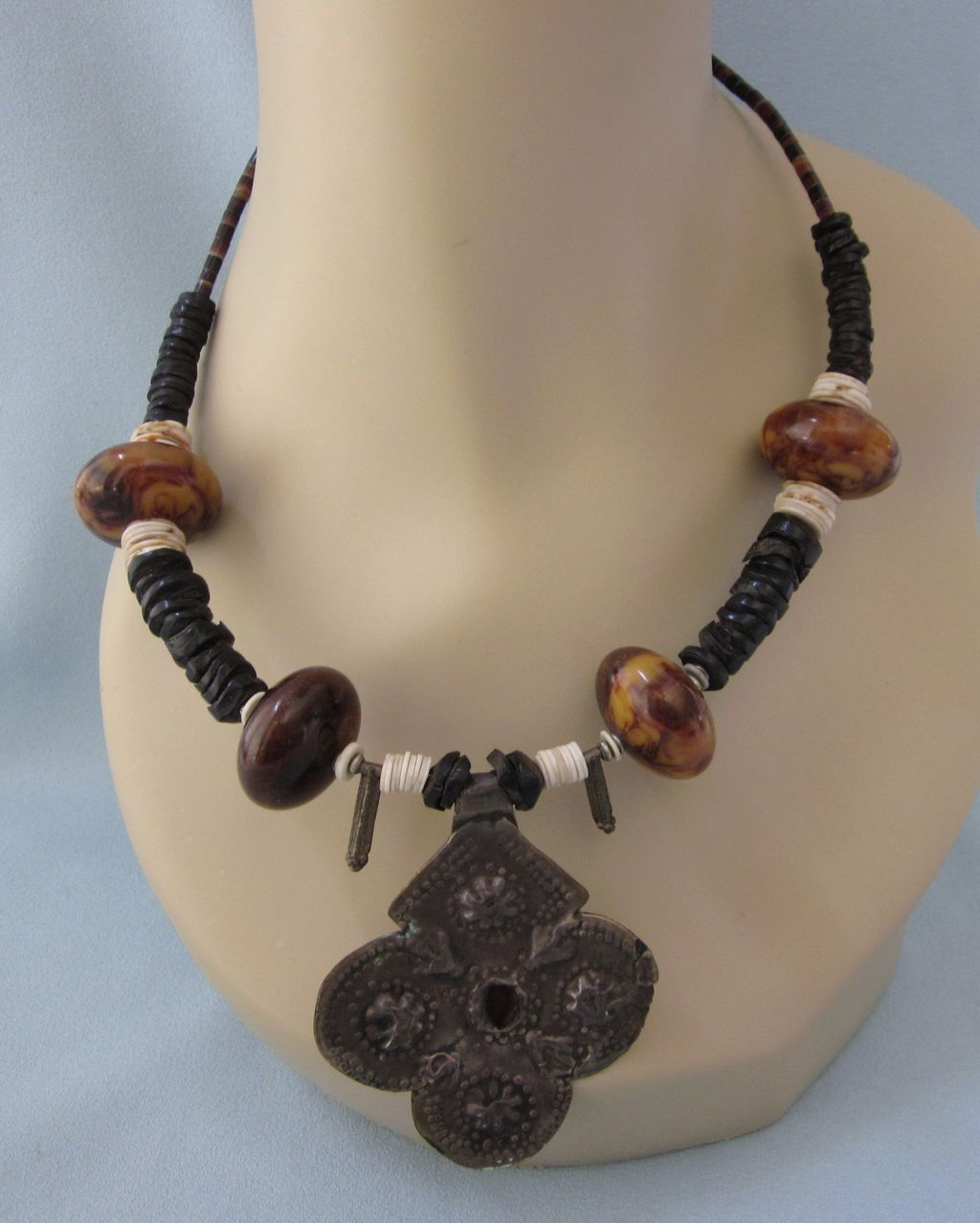 Vintage African Bead And Silver Relic Pendant Necklace