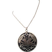 SALE!  Spectacular Sterling Silver Wading Birds Pendant With Chain Necklace, 42.3 Grams