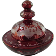 Old Bohemian Deep Ruby Cut to Clear Covered Bowl, Castle and Bird