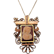 Exquisite Antique Victorian 14K Rose Gold Large Pendant Brooch With Cameo, Chain