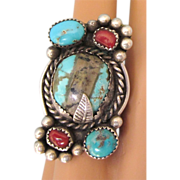 Spectacular Vintage Sterling, Boulder or Ribbon Turquoise and Coral Ring, Size 5-1/2
