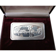 FINAL CLEARANCE   Christmas 1970 Sterling Ingot, Skaters, Franklin Mint, 66.4 Grams!