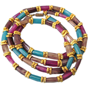 "FINAL CLEARANCE  Vibrant Multicolor Lucite Goldtone 39"" Rope Sautoir Necklace"